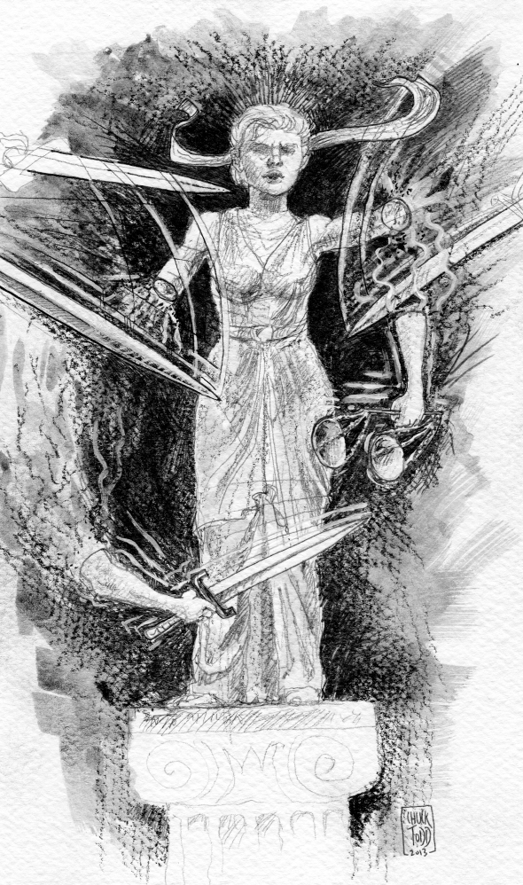 Chuck Todd Illustration of Lady Justice being attacked and cutdown, rendered powerless. Created for VERDICT